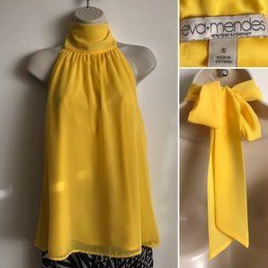 HAPPY Yellow Open Back Halter Tie Top